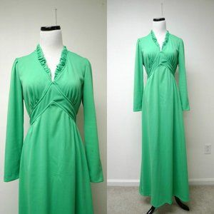 VTG 70s long sleeves goddess maxi dress
